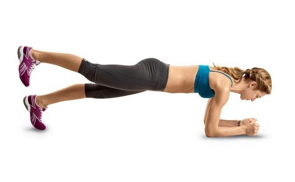 Упражнение планка с поднятой ногой