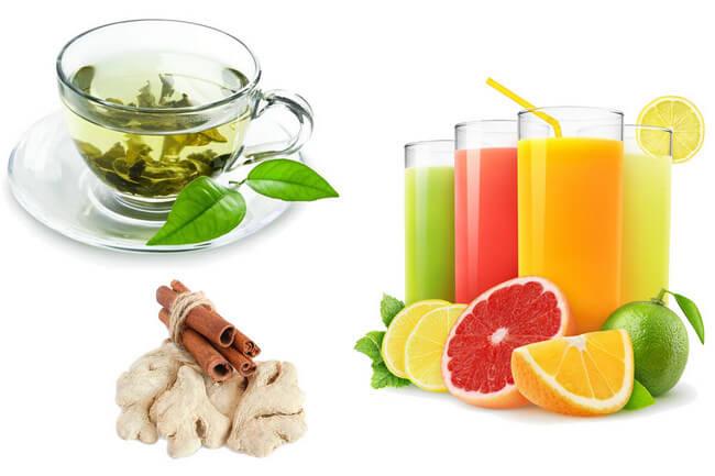 Соки и зелёный чай