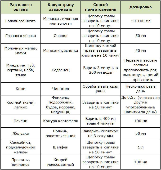 Травы используемые при раковых заболеваниях