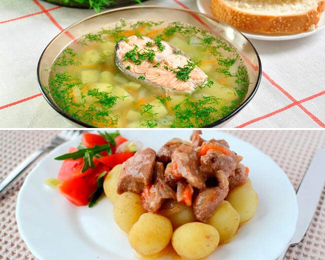 Уха с форелью и картофель с мясом