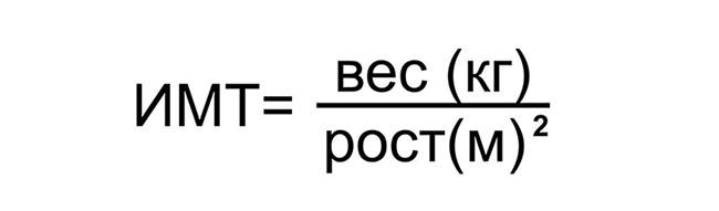 Формула для расчёта индекса массы тела (ИМТ)